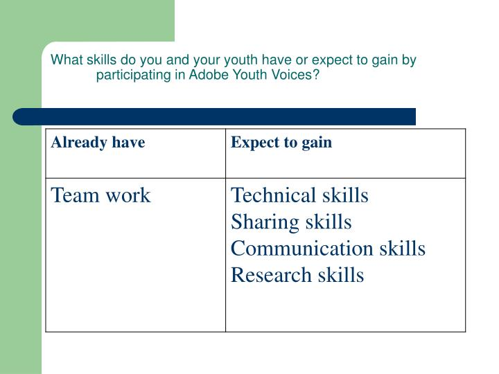 What skills do you and your youth have or expect to gain by participating in Adobe Youth Voices?