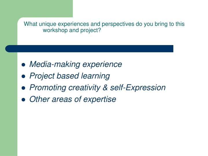 What unique experiences and perspectives do you bring to this workshop and project?