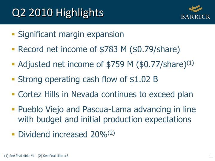 Q2 2010 Highlights