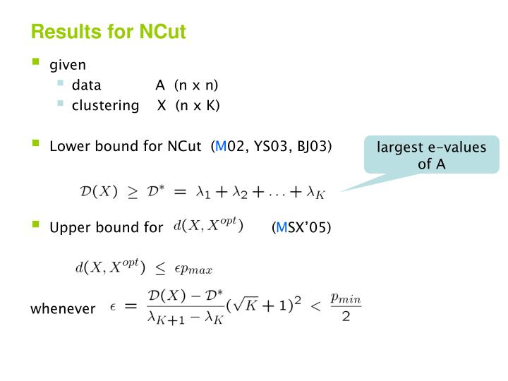 Results for NCut