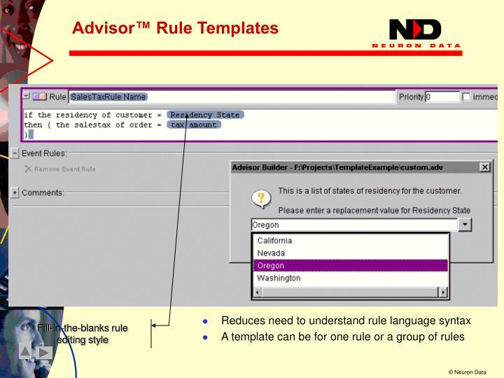 Advisor™ Rule Templates