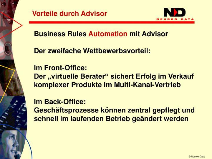 Vorteile durch Advisor