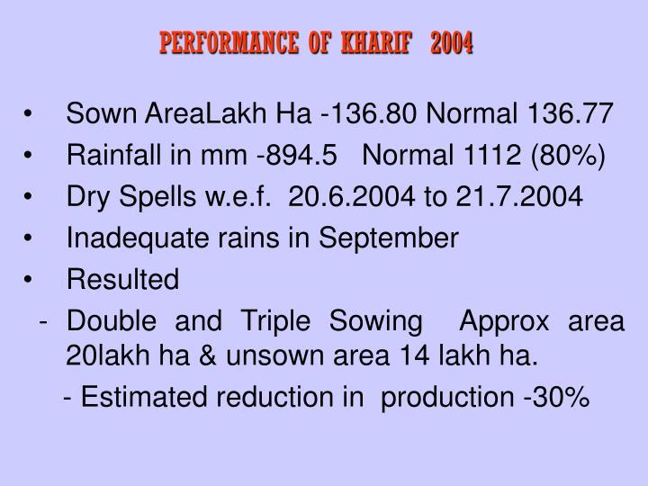 PERFORMANCE OF KHARIF  2004