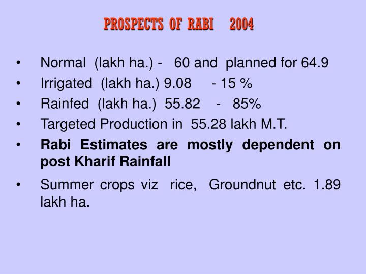 PROSPECTS OF RABI   2004
