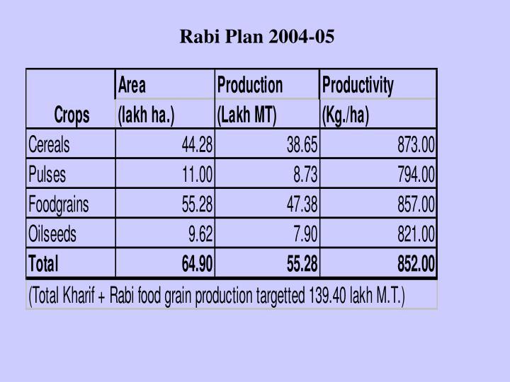 Rabi Plan 2004-05