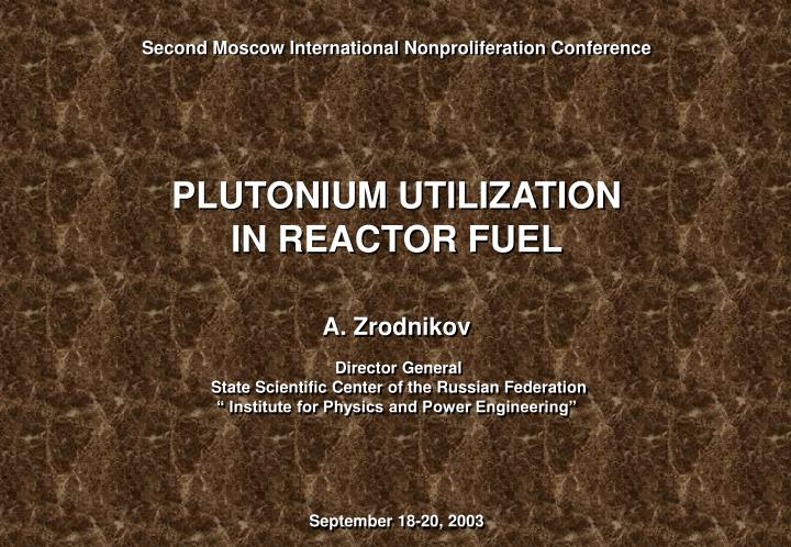 Second Moscow International Nonproliferation Conference