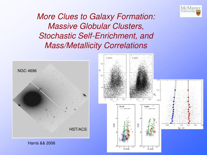 More Clues to Galaxy Formation:  Massive Globular Clusters, Stochastic Self-Enrichment, and Mass/Met...