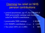 claiming tax relief on nhs pension contributions