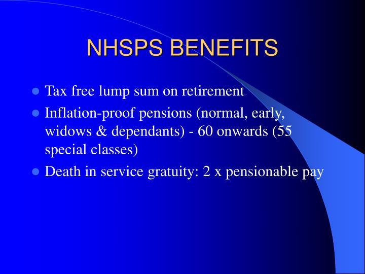 NHSPS BENEFITS