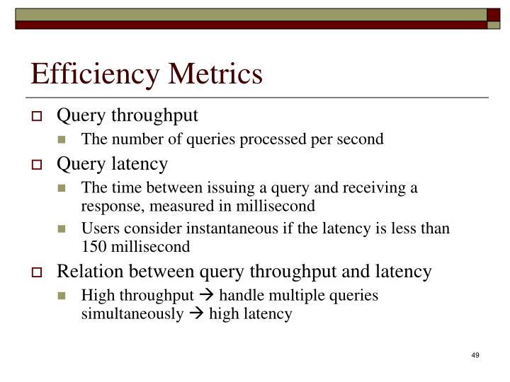 Efficiency Metrics