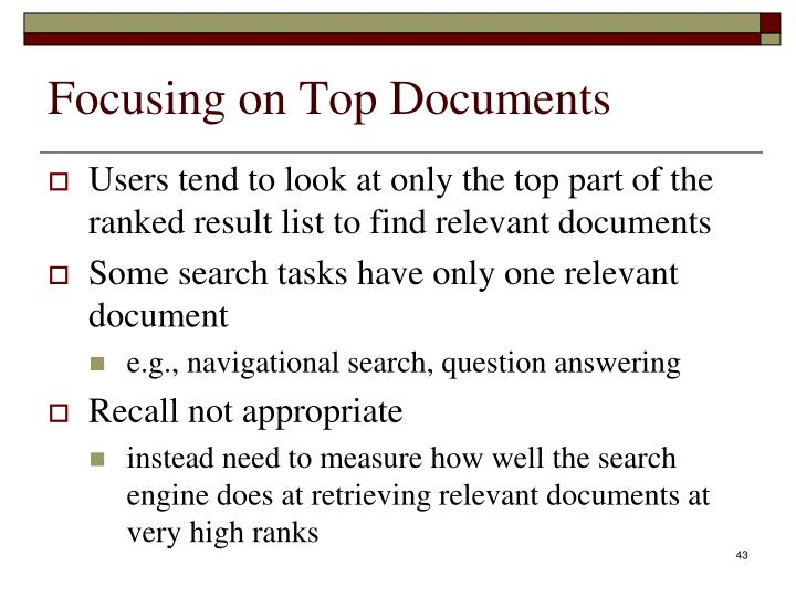 Focusing on Top Documents