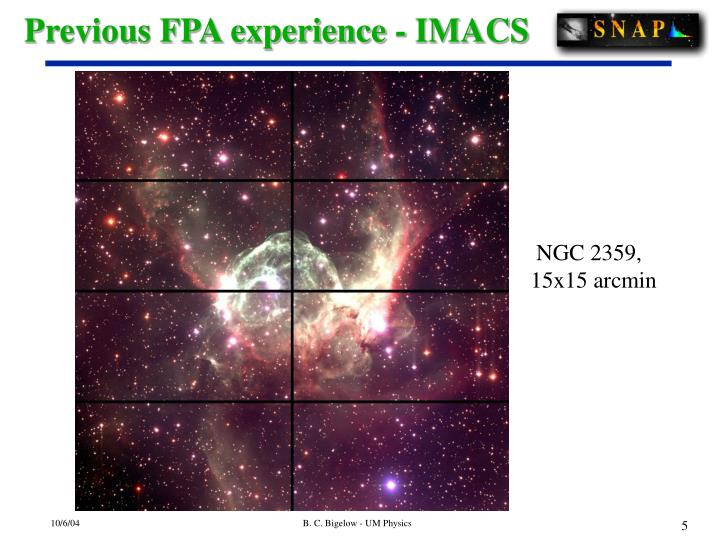 Previous FPA experience - IMACS
