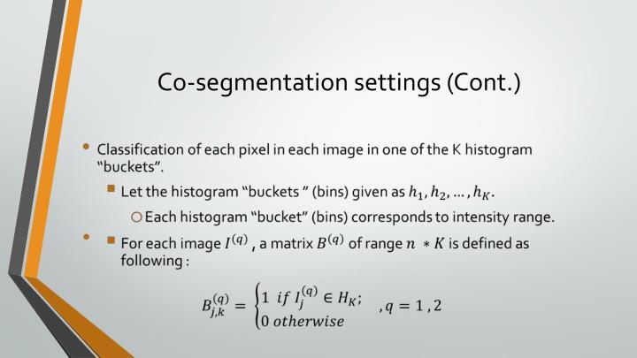 Co-segmentation settings (Cont.)