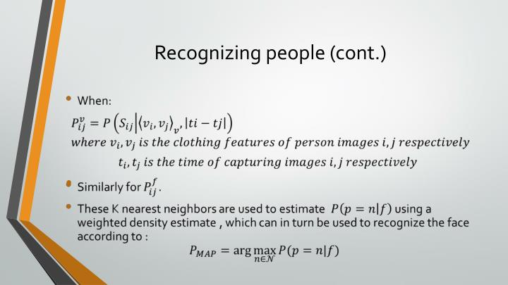 Recognizing people (cont.)
