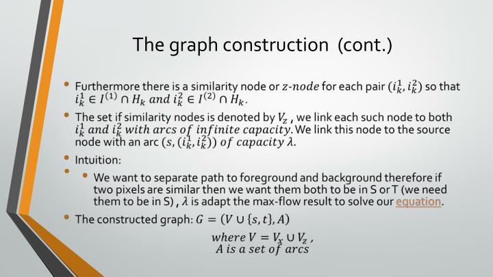 The graph construction  (cont.)