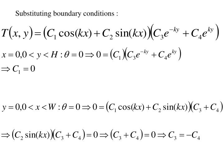 Substituting boundary conditions :