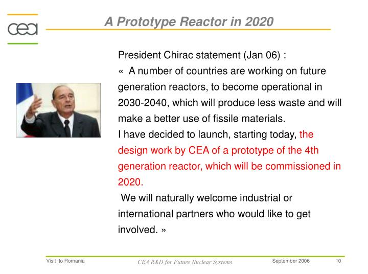 A Prototype Reactor in 2020