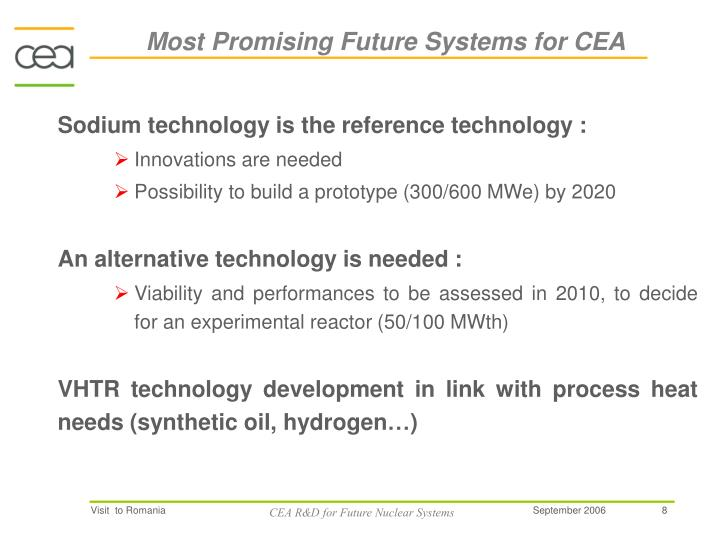 Most Promising Future Systems for CEA