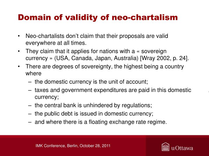 Domain of validity of neo-chartalism