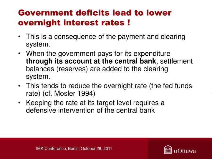 Government deficits lead to lower overnight interest rates !