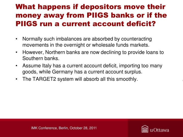 What happens if depositors move their money away from PIIGS banks or if the PIIGS run a current account deficit?