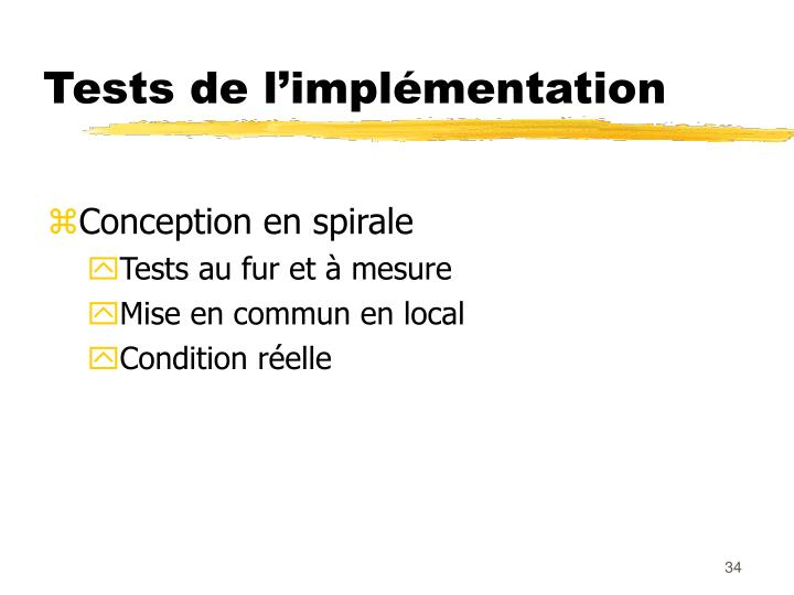 Tests de l'implémentation