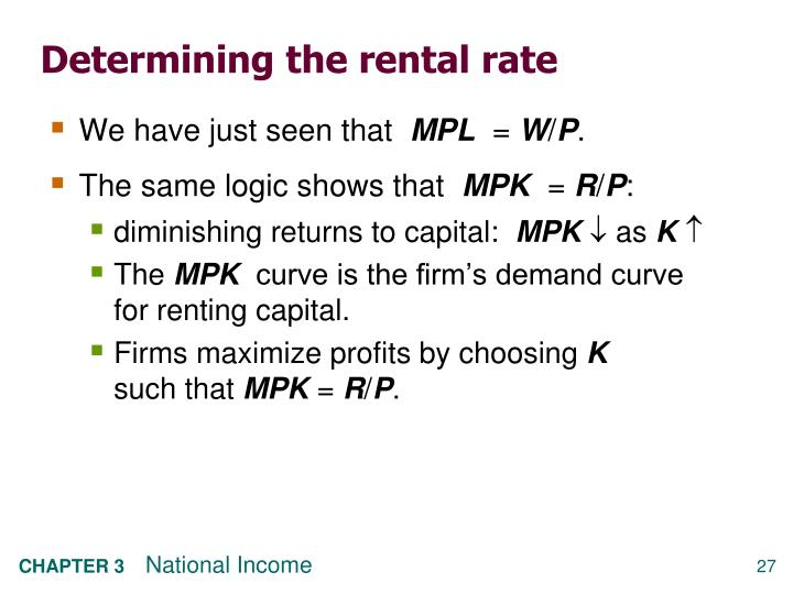Determining the rental rate