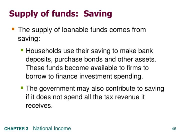 Supply of funds:  Saving