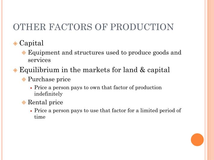 OTHER FACTORS OF PRODUCTION