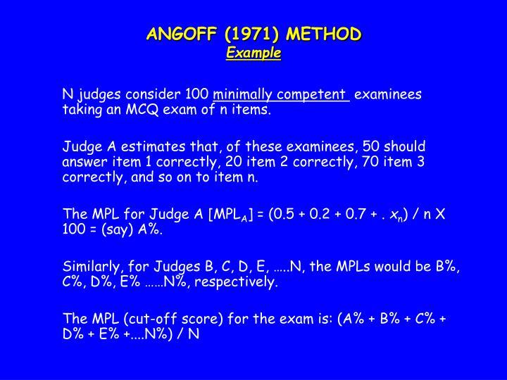 ANGOFF (1971) METHOD