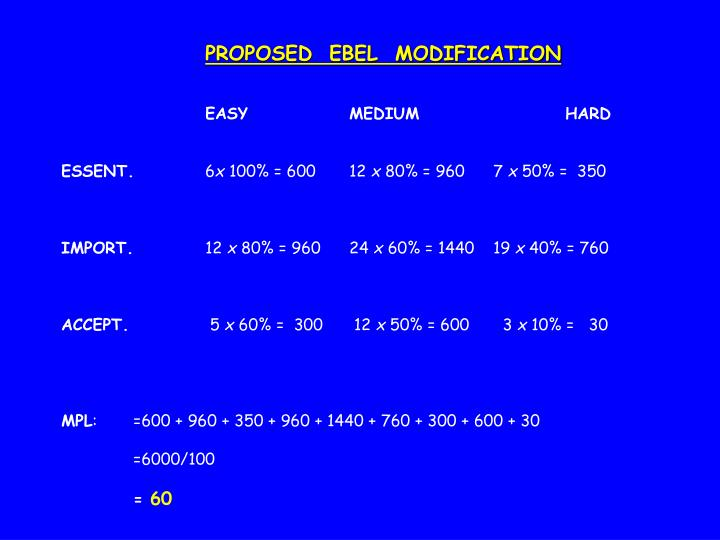 PROPOSED  EBEL  MODIFICATION