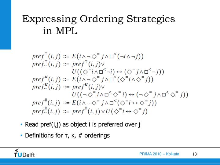Expressing Ordering Strategies