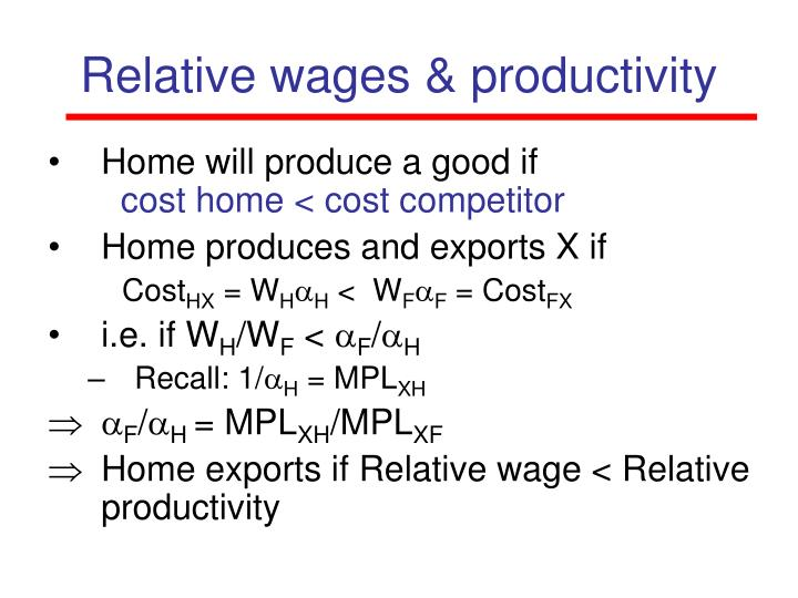 Relative wages & productivity