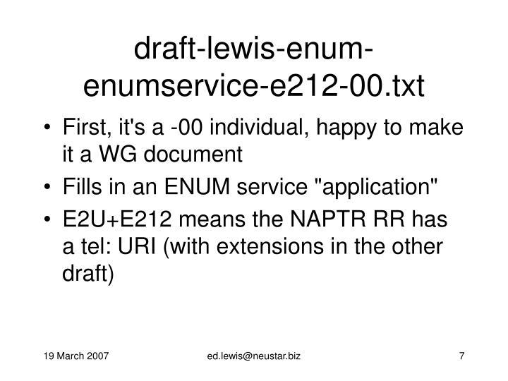 draft-lewis-enum-enumservice-e212-00.txt