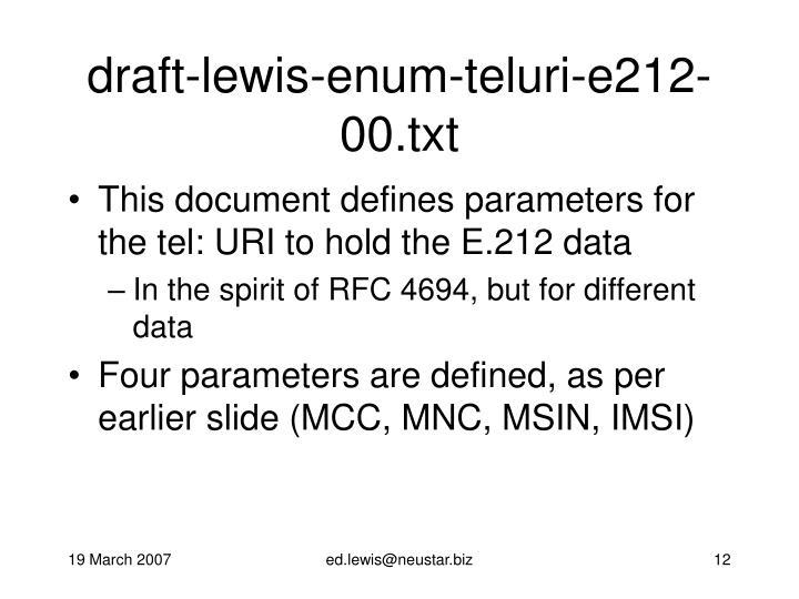 draft-lewis-enum-teluri-e212-00.txt