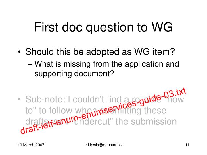First doc question to WG