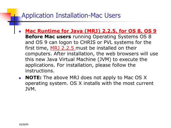 Application Installation-Mac Users