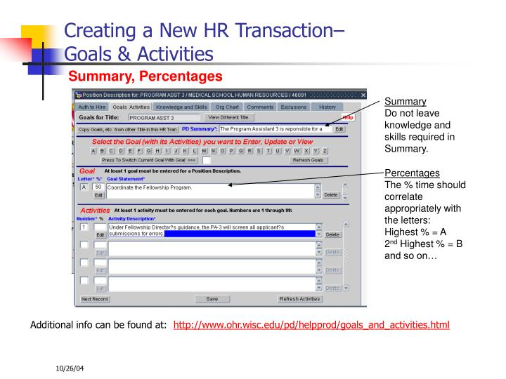 Creating a New HR Transaction–