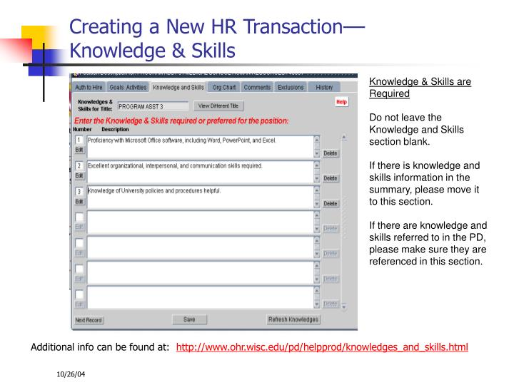 Creating a New HR Transaction––