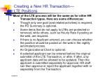 creating a new hr transaction lte positions