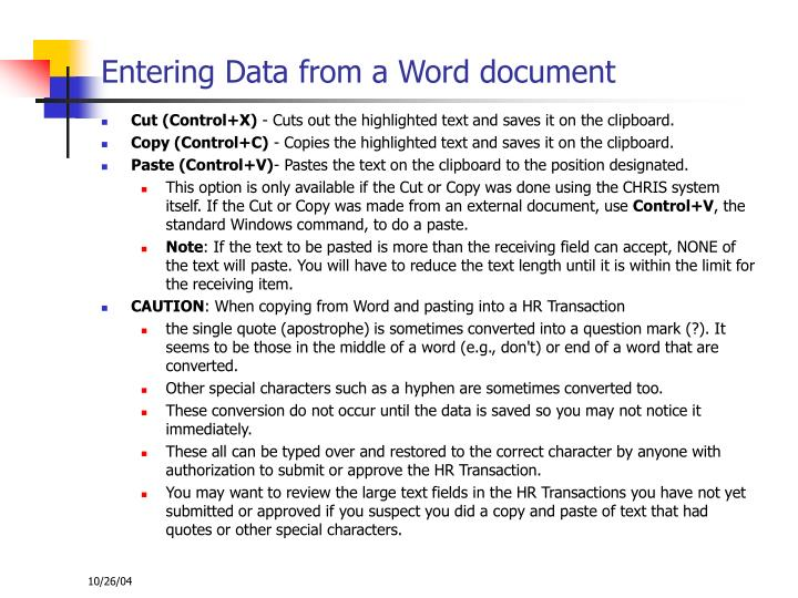 Entering Data from a Word document