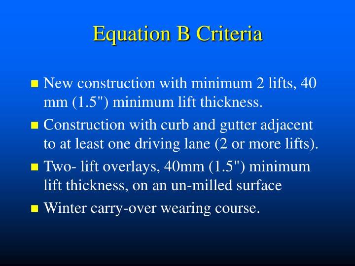Equation B Criteria