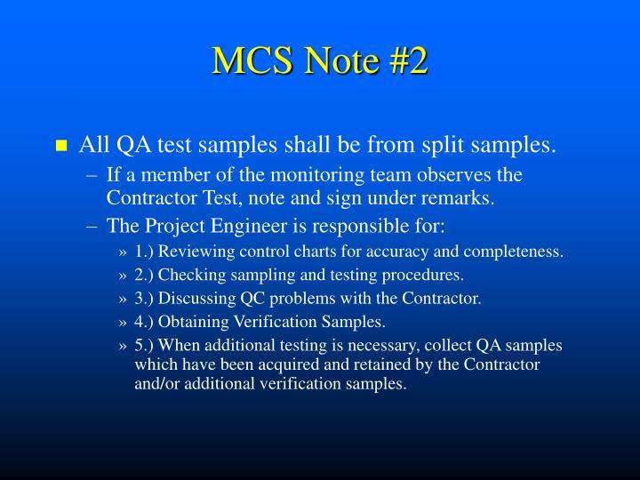 MCS Note #2