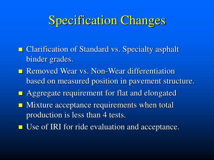 Specification Changes