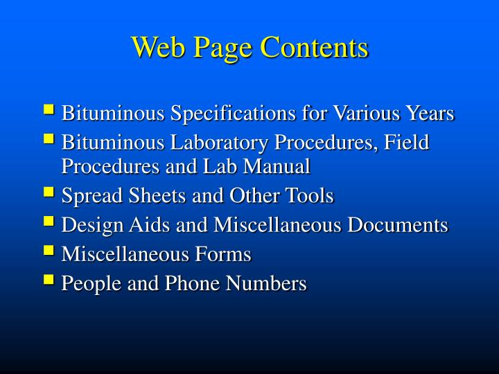 Web Page Contents