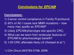 conclusions for epcam