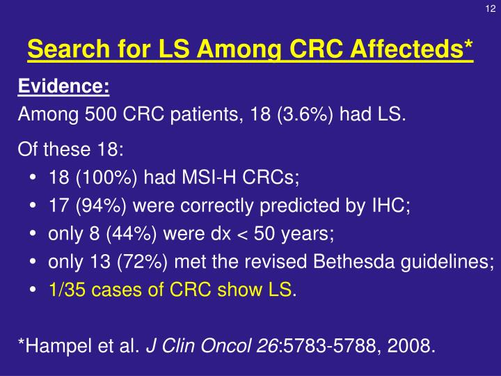 Search for LS Among CRC Affecteds*