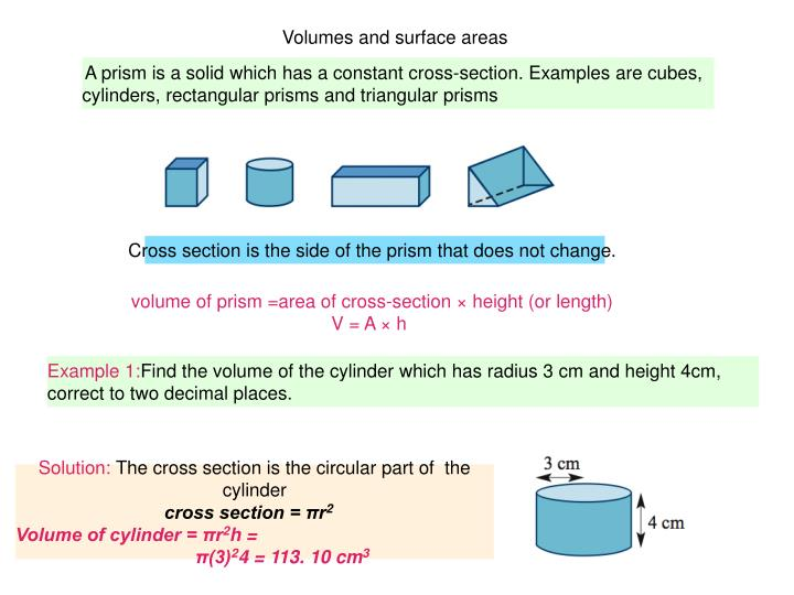Volumes and surface areas