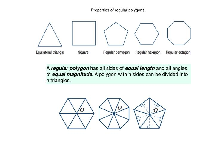 Properties of regular polygons
