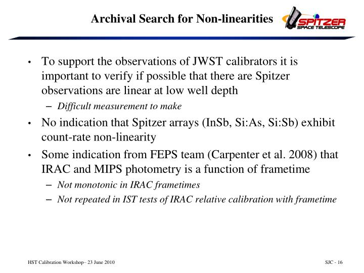 Archival Search for Non-linearities